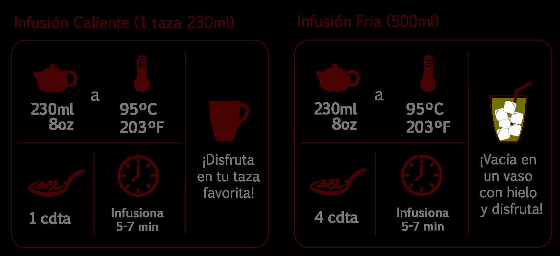 preparación correcta de tisana frutal